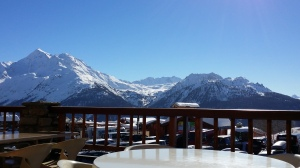 Looking across to 'Les Arcs' from the restaurant at La Rosiere